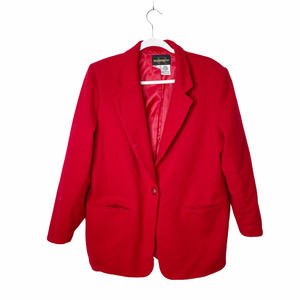 Vintage Requirements Red Wool Classic Blazer Gold